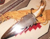 Handmade Knife Eagle Feather double sided Blade antler handle Navajo Artist SIGNED Native American Indian Collectible