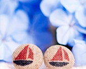 Cute Fabric Button Earrings - Red and Navy Sailing Boats