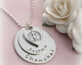 Personalized Jewelry - Baby feet and heart charm - Name - Date