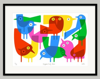 Brighton Early Birds by Lo Cole - Limited edition archival pigment ink print