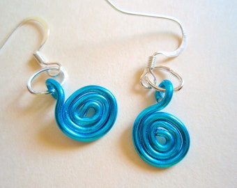 Turquoise Spiral Earrings, Aqua Earrings, Blue Earrings,