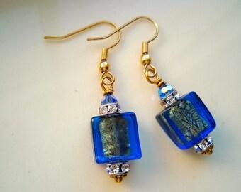 Periwinkle Blue Murano Glass Earrings, 24 karat gold earrings, Blue earrings, Swarovski Crystal earrings