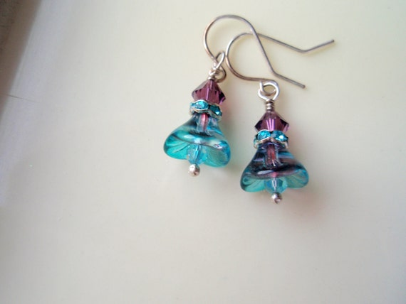 Teal Blue with a Dash of Violet Earrings