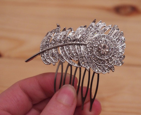 Silver Rhinestone Peacock Feather Vintage Style Bridal Comb