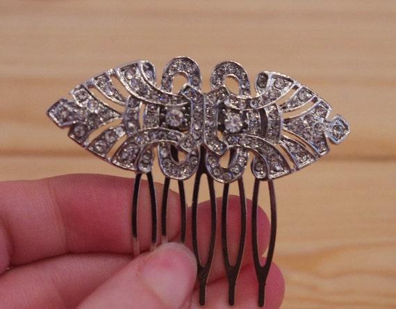 Art Deco Hair Comb - Rhinestone Bridal Comb - SILVER