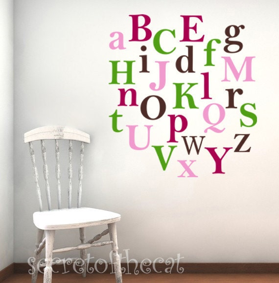 vinyl wall decal alphabet a z kids letters decals nursery wall decal letters
