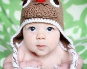Crochet Rudolph Reindeer Christmas / Holiday Beanie Earflap Hat in browns and reds
