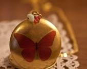 Gold Locket Necklace with Red Vintage Butterfly