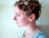 CLEARANCE - Milk Chocolate Wild Turkey Feather Flower with Vintage Wood Button - Feather Hair Clip