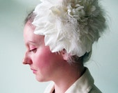 Flower Hat in Swan Song- Giant Ivory Feather and Silk Dahlia Headpiece - Oversized Fascinator - Cocktail Hat - Wedding - Formal - Ball