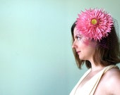 SALE - Ruffle Daisy Cocktail Hat with Veiling - Bridesmaid - Wedding - Easter - Kentucky Derby - Ascot