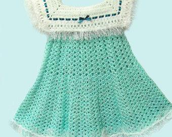 Girl's Mint Dress, Mint School Dress, Mint Sailor Dress, Mint Sailor Collar Dress, Mint Dress, Green & White School Dress, Green and White