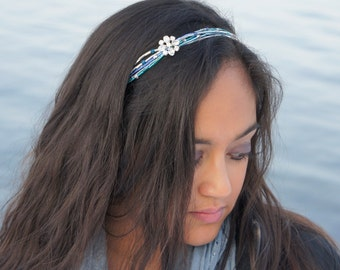 Shades of Blue Beaded Rhinestone Headband - Crystal Tie Headband - Blue, Teal, Silver Hairband - Blue Prom Headband - No Headache Headband