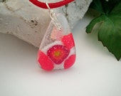 Fused Glass Geometric Dichroic Pendant Red White and Clear