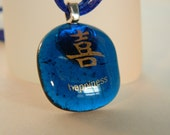 Happiness Khanji Fused Glass Gold on Sapphire Blue Pendant Necklace