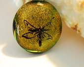 Fused Glass Dichroic Dragonfly Pendant Necklace