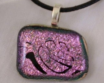 Snail Fused Glass Pendant Hot Pink Dichroic Snail Pendant