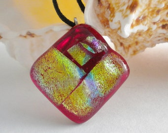 Fused Glass Pendant Red Gold Dichroic Square