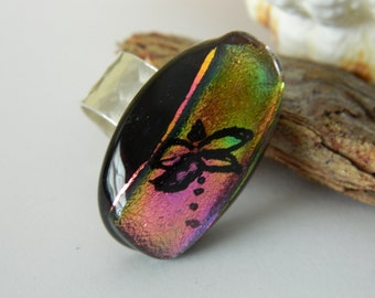 Ring Dragonfly Fused Glass Ring Dichroic Glass Pink Gold Adjustable Silver Ring