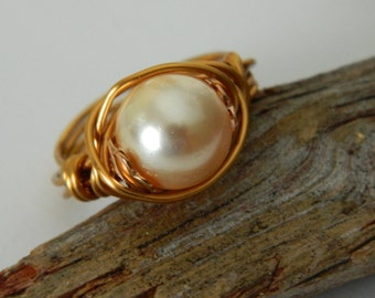 Ring with Swarovski Glass Pearl Wire Wrap and Bronze wire