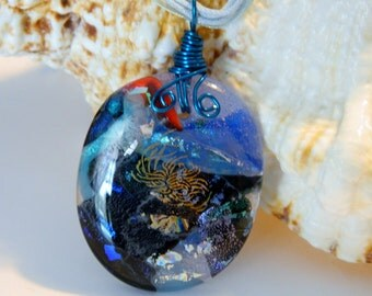 Fused Glass Wire Wrapped pendant necklace Stormy Sea Pendant