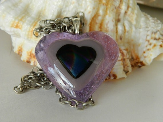 Heart Fused Glass Dichroic necklace in Lavendar and Lilac