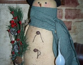Primitive Wynter Thyme Snowman Joe. Primitive Lighted Snowman