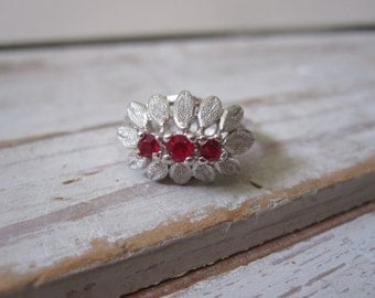 Sterling and Ruby Red Ring