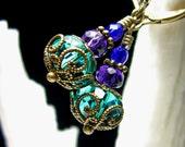 Peacock Green Purple Crystal Jeannie Bottle Drop Steampunk Earrings, Antiqued Bronze Filigree, Titanic Temptations Vintage Victorian Jewelry