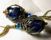 Peacock Blue Green Dichroic Glass Drop Victorian Earrings, Antiqued Gold Bronze Filigree, Titanic Temptations Vintage Bridal Style Jewelry