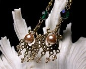 Champagne Pearl Chandelier Victorian Earrings, Green Crystal Vintage Style Drops, Antiqued Brass Filigree Titanic Temptations Bridal Jewelry