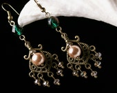Champagne Pearl Forest Green Crystal Chandelier Victorian Earrings Antiqued Bronze Filigree Titanic Temptations Vintage Bridal Style Jewelry