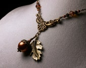 Gold Copper Brown Acorn Crystal Pearl Antiqued Bronze Dangle Drop Necklace Steampunk Jewelry Antique Vintage VictorianBridal Style - TitanicTemptations