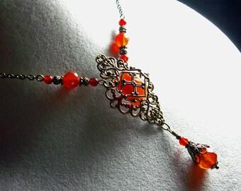 Genuine Carnelian Orange Crystal Victorian Bridal Choker Necklace Antique Brass Filigree Titanic Temptations Vintage Edwardian Style Jewelry