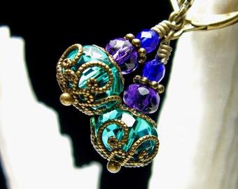 Peacock Green Purple Crystal Jeannie Bottle Steampunk Earrings, Antique Bronze Filigree Titanic Temptations Vintage Victorian Bridal Jewelry