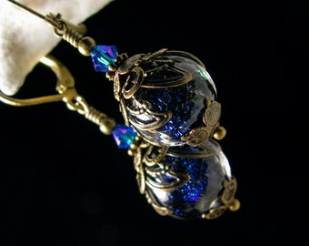 Peacock Blue Victorian Earrings, Bermuda Blue Dichroic Glass Vintage Edwardian Bridal Style Drops, Antique Brass Titanic Temptations Jewelry