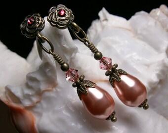 Rose Peach Pink Swarovski Crystal Pearl Earrings, Antiqued Bronze Filigree, Titanic Temptations Vintage Victorian Bridal Style Jewelry