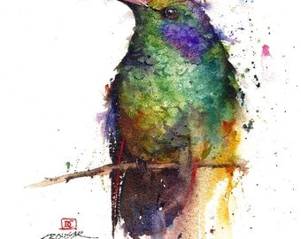 HUMMINGBIRD Watercolor Bird Art Print by Dean Crouser