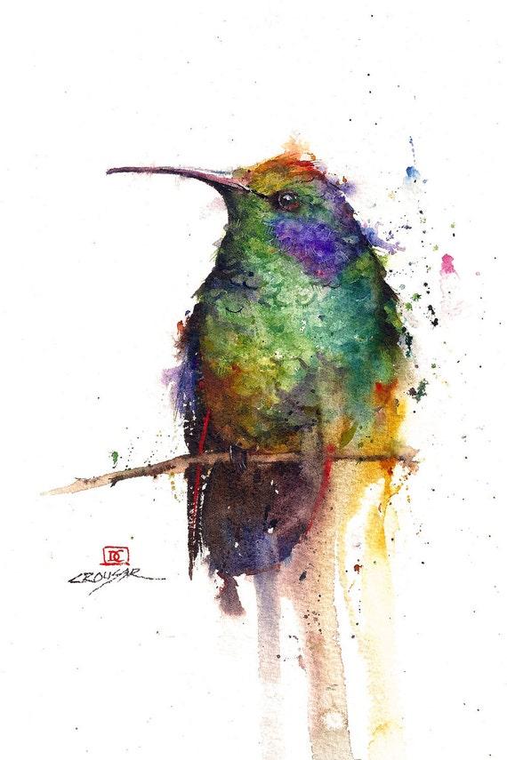 HUMMINGBIRD Watercolor Bird Art Print by Dean Crouser