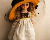 Wool Veiled Hat - Black Bow  - Mustard Yellow
