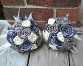 Bridal Bouquet Fabric and Feather Bouquet, Ivory, gray and Taupe