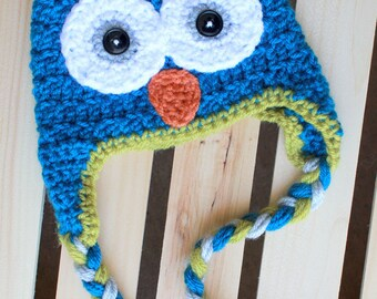 Crochet Owl Beanie with Braids, Made to Order