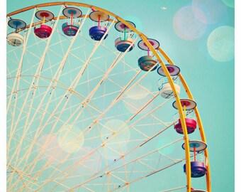 Ferris Wheel photograph - Day at the Fun Fair - carnival photo, Paris, France, nursery decor 8x8, 12x12, 20x20 Original Fine Art Photograph