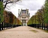 Paris Photography - Jardin des Tuileries Photograph Green Fine Art Print Elegant Parisian Garden Photo Autum French Architecture