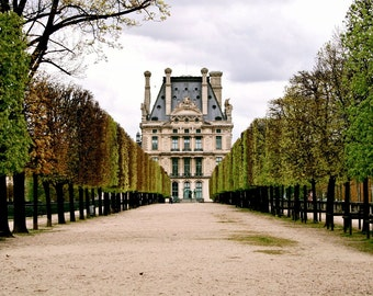 Paris Photography - Jardin des Tuileries Photograph Green Fine Art Print Elegant Parisian Garden Photo Autum French Architecture