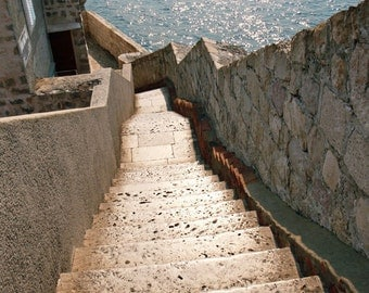 Dubrovnik Croatia Photograph - Mediterranean Decor - Steps Along the Wall - Stairs Sea - Travel Photography Neutral Print Art Photo