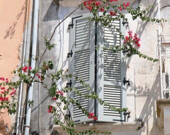 Romantic Photography - Pink Bedroom Decor - Girl Nursery Wall Art - Flowers and Window Print - Corfu Greece Mediterranean - Feminine Photo