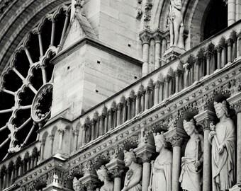Paris Photography - Black and White Paris Photo - Notre Dame Photograph Parisian Architecture Neutral Wall Decor France Print Travel