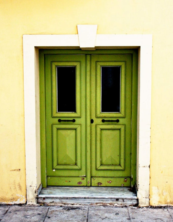Door Photography - Green Door Photograph - Athens Greece Photo Lime Green Decor Green Yellow Art  Rustic Mediterranean Decor Apple