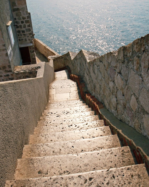 Dubrovnik Croatia Photograph - Mediterranean Decor - Steps Along the Wall - Stairs Sea - Travel Photography Neutral Print Art Photo